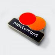 Металлический значок Mastercard. Полноцветная покраска без рантов (впечатка текста). Глянцевый/матовый лак. Полированный нейзильбер