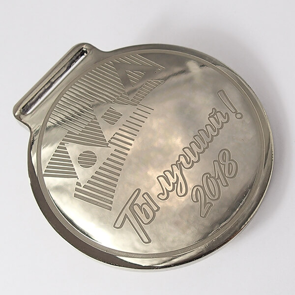 Медаль металлическая с широким ушком под ленту   химическое травление нейзильбер