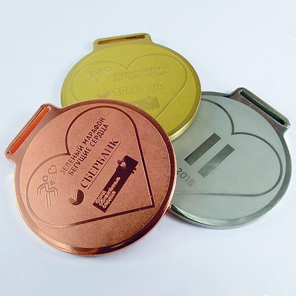 Комплект медалей металлических с широким ушком под ленту   химическое травление 1 место - латунь, 2 - нейзильбер 3 - медь