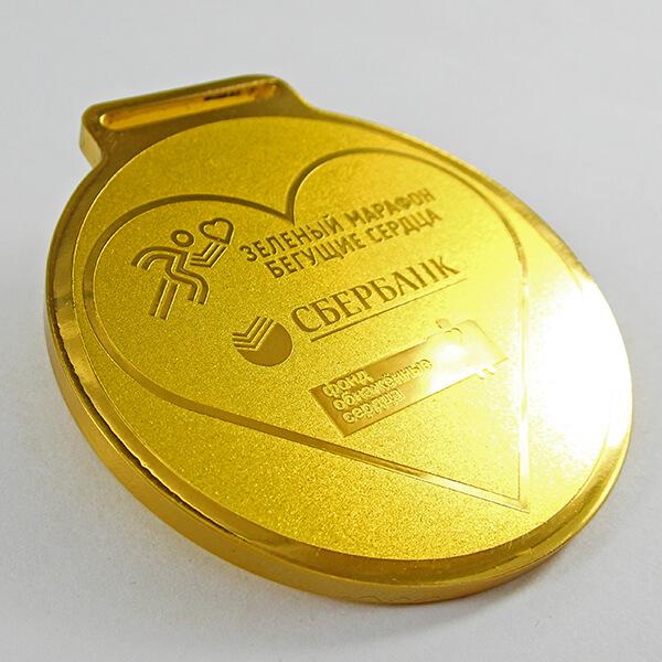 Медаль металлическая с широким ушком под ленту   химическое травление латунь