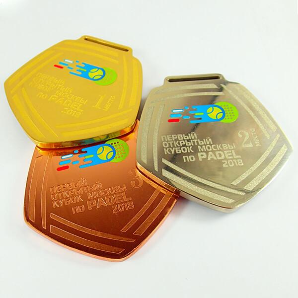 Комплект медалей металлических индивидуальной формы с полноцветной покраской 1 место - латунь 2 - нейзильбер 3 место - медь